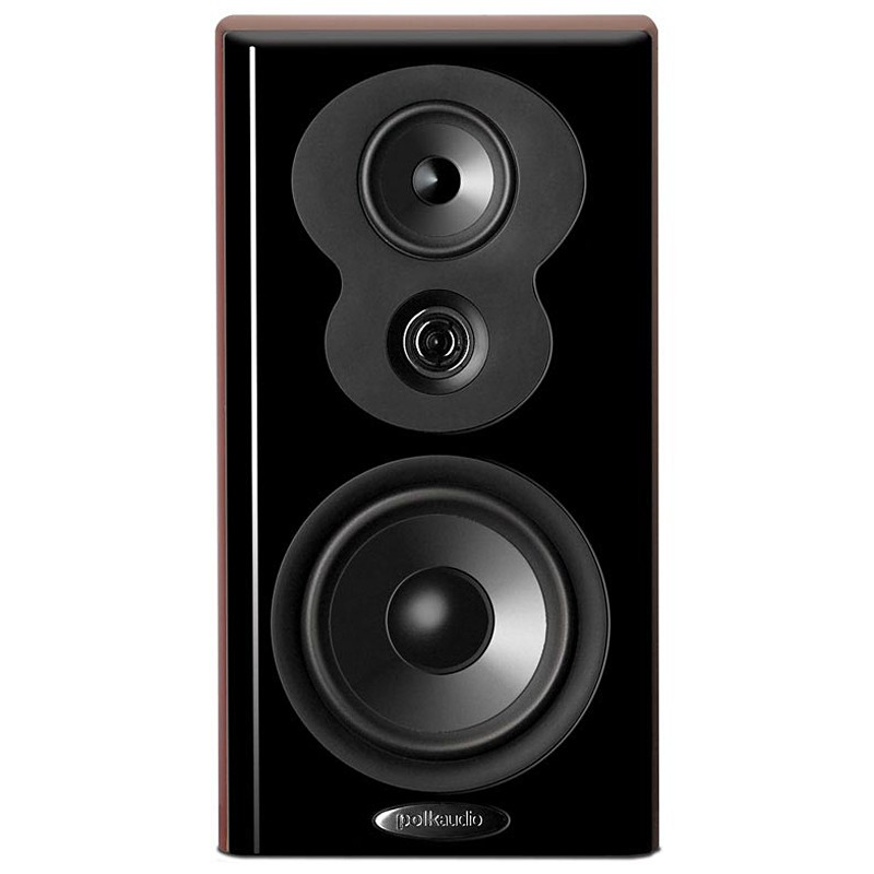 Polk Audio LSiM703 bookshelf home theater speakers black front view